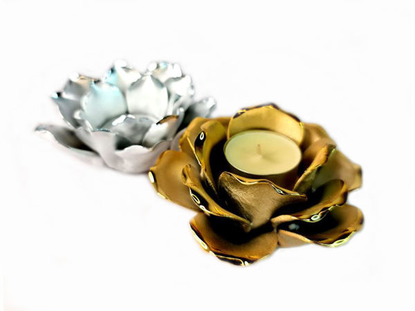 Picture of Ceramic Rose Flower Candle Holder