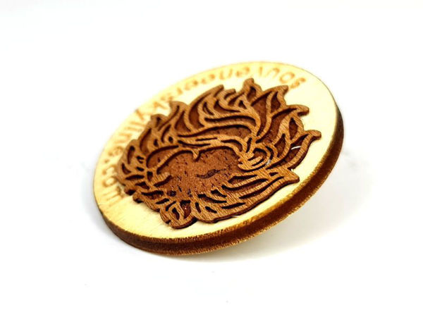 Picture of Fully customized reclaimed wood lapel pin