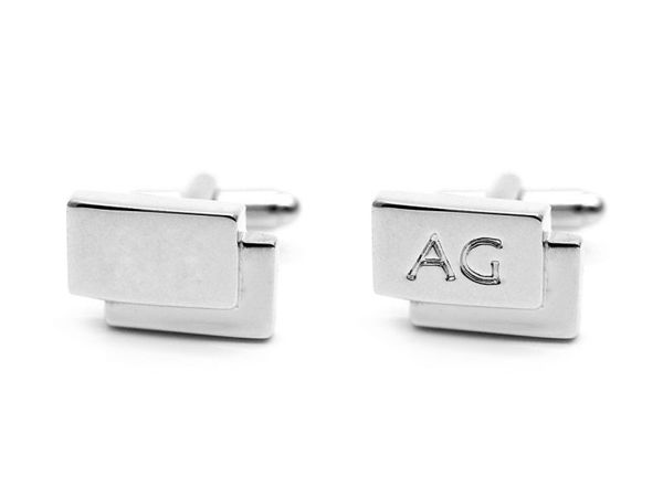 Picture of Fully Customized Silver Tone Rectangle Cufflinks