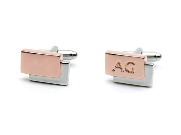 Picture of Fully Customized 2-tone Rectangle Cufflinks