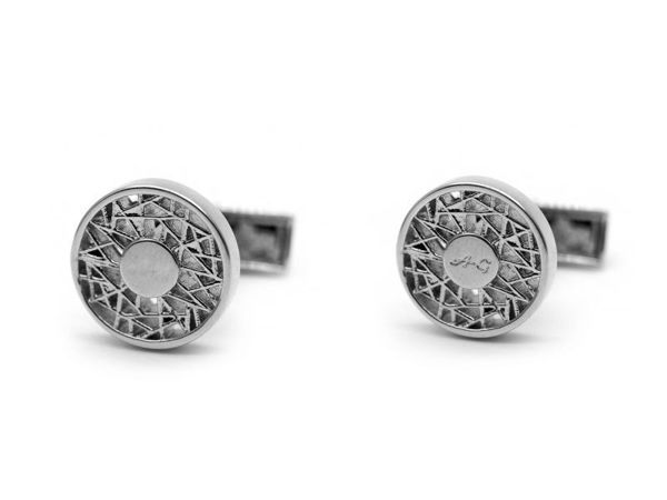 Picture of Fully Customized Matte Silver Mesh Design Cufflinks