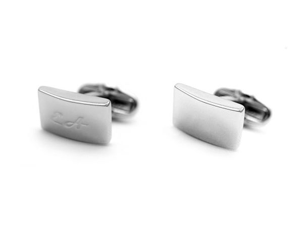 Picture of Fully Customized Stylish Silver-Tone Rectangular Cufflinks