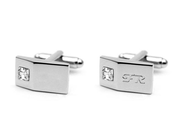 Picture of Fully Customized Rhine Stone Silver Cufflinks