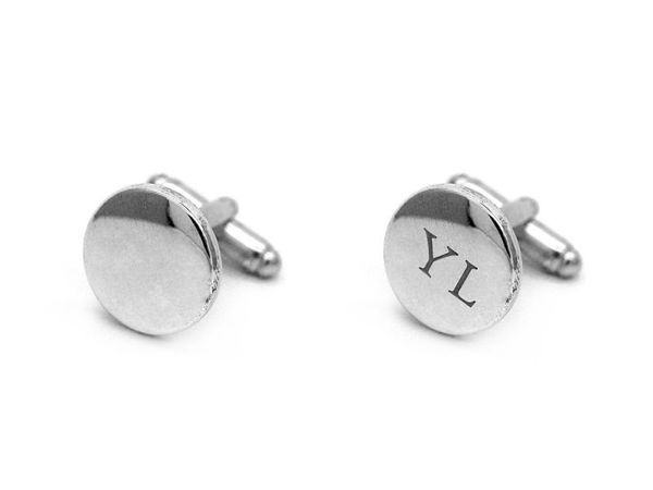 Picture of Fully Customized Silver tone Round Cufflinks