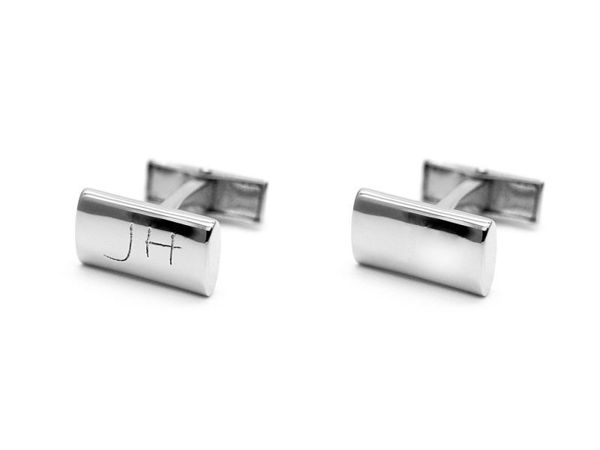 Picture of Fully Customized Silver-Tone Curved Rectangular Cufflinks