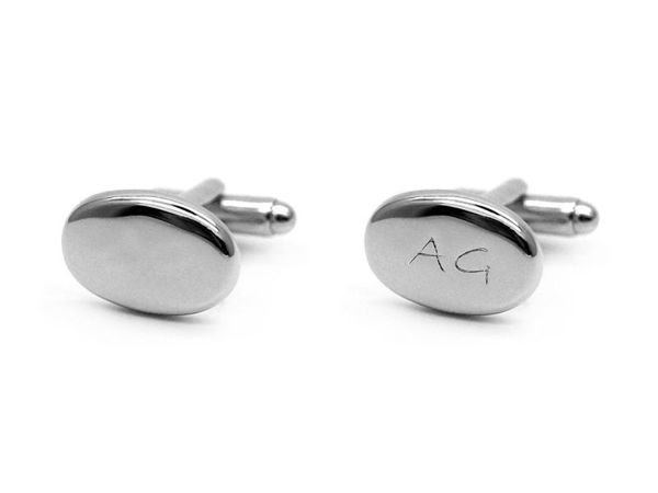 Picture of Fully Customized Silver-Tone Oval Cufflinks