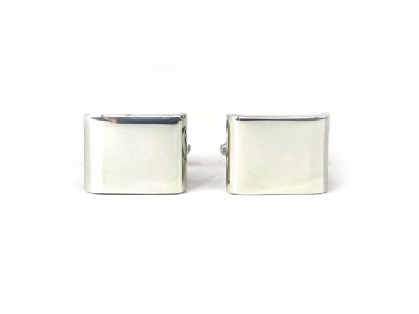 Picture of Fully customized Silver Tone Bent Rectangle Cufflinks