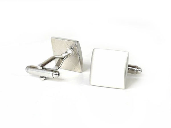 Picture of Fully Customized Brushed Silver Square Cufflinks