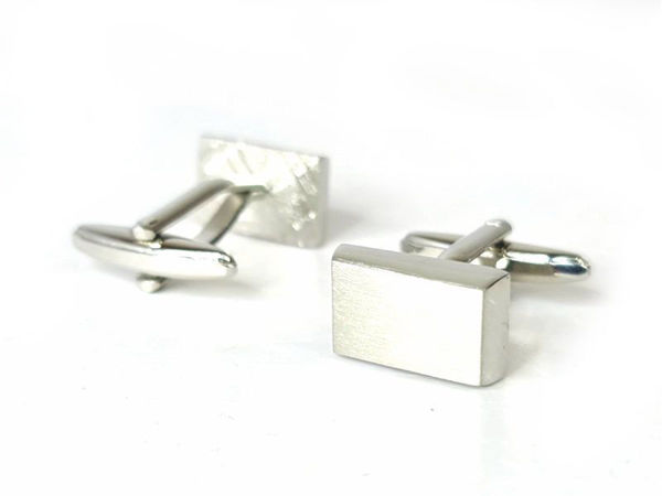 Picture of Fully Customized Brushed Silver Robust Rectangular Cufflinks