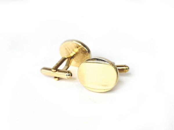 Picture of Fully Customized Shiny Gold-Tone Oval Cufflinks