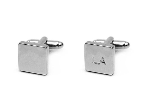Picture of Fully Customized Matte Silver Square Cufflinks