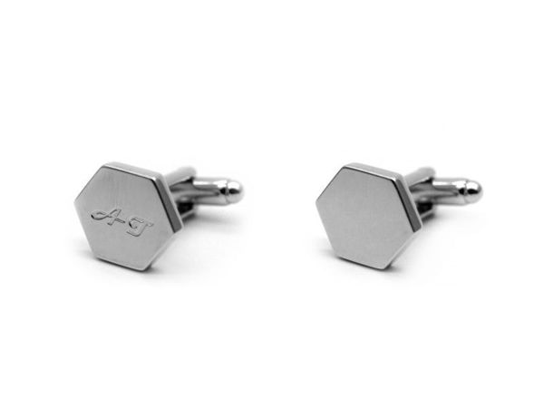 Picture of Fully Customized Silver Tone Hexagon Cufflinks