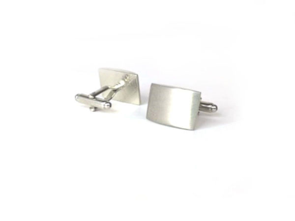 Picture of Fully Customized Brushed Silver Rectangle Cufflinks