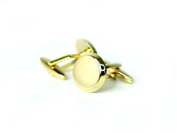 Picture of Fully Customized Shiny Gold-Tone Round Cufflinks