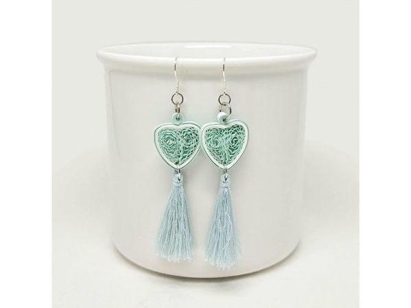 Picture of Blue Heart Tassel Earrings