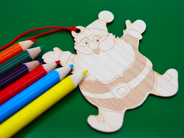 Picture of Set of Wood Santa clause ornament/ bookmark with pencils