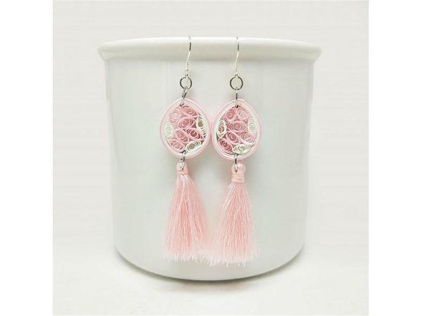 Picture of Pink Teardrop Tassel Earrings