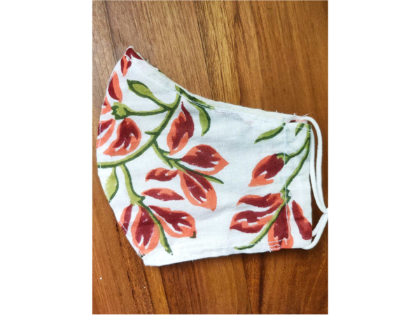 Picture of Orange & Red floral face mask