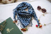 Picture of Indigo Cotton with coloured tassels & beads