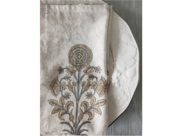 Picture of Mughal Grey, Table napkins hand block printed