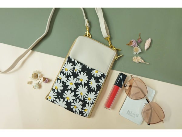 Picture of Daisy Cream Dual Zip Sling Bag