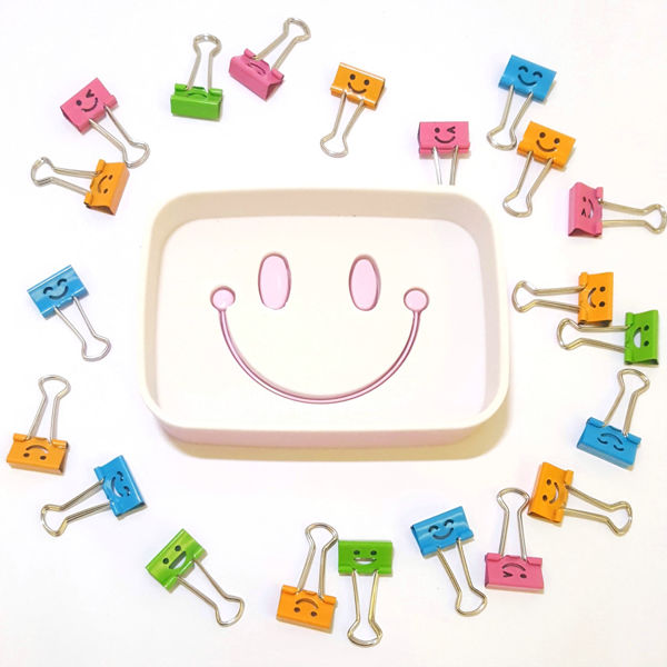Picture of Smiley Binder Clip Holder with Happy Clips