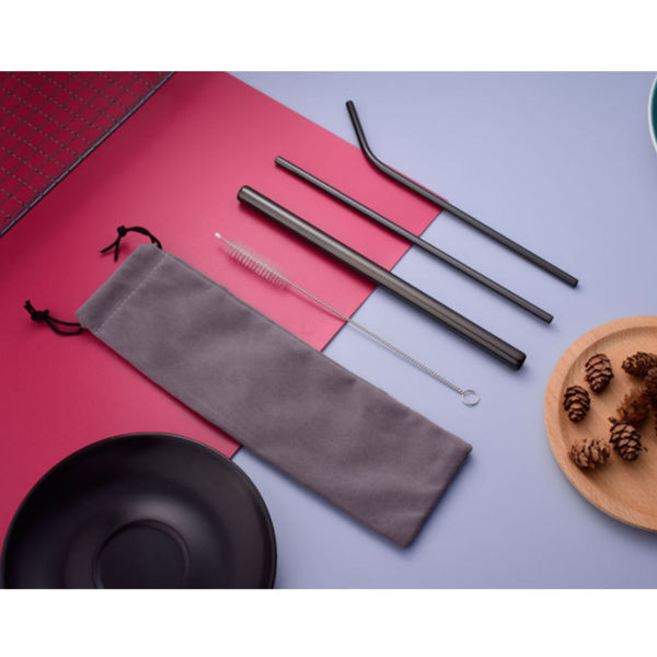 Picture of Metal Straw Set with Velvet Pouch