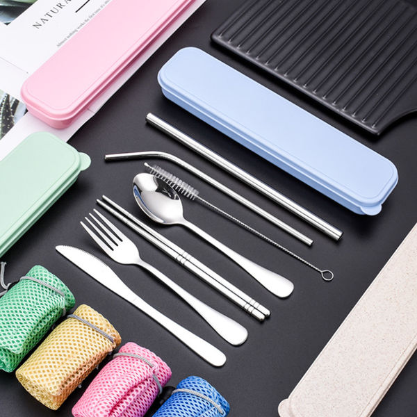 Picture of Metal Straw and Cutlery Set with Wheatstraw Box