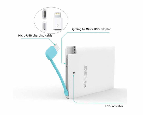 Picture of Slim Power bank w/ Micro USB & iPhone pin