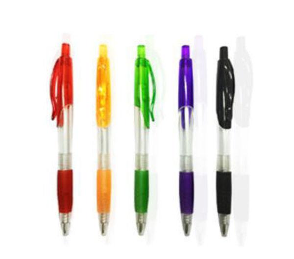 Picture of Transparent Pen w/colored grip & clip