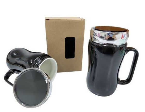 Picture of 400ml Black Porcelain Mug with sliver acrylic lid