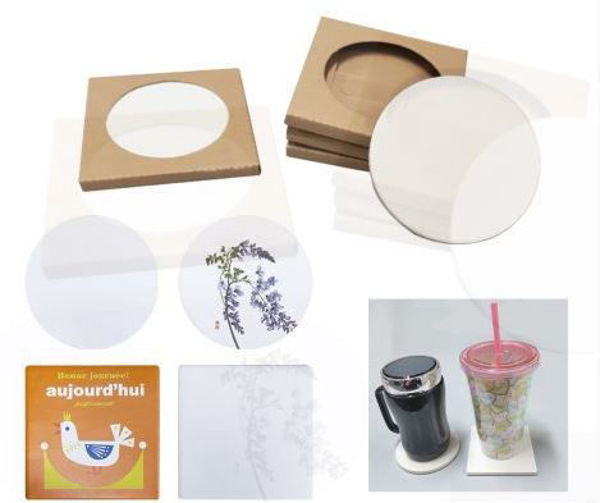 Picture of Ceramic Coaster with indivdual kraft paper box