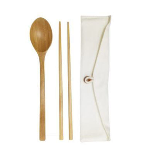 Picture of ECO Friendly Wooden Cutlery in cotton pouch