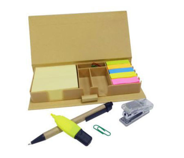Picture of Recycled Box Post-It (w/pen, highlighter, paper clips & stapler)