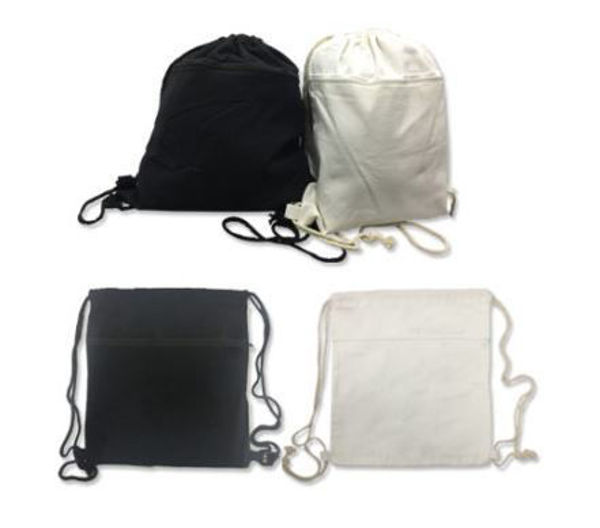 Picture of 8oz Cotton Canvas Drawstring Bag with zip compartment