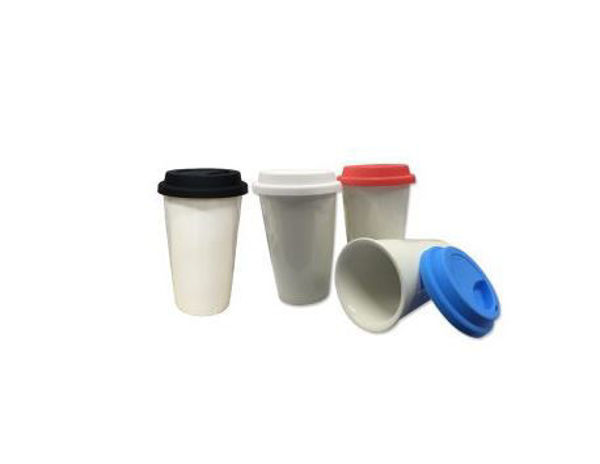 Picture of 280ml Double Wall Ceramic Mug w/colored silicon Lid
