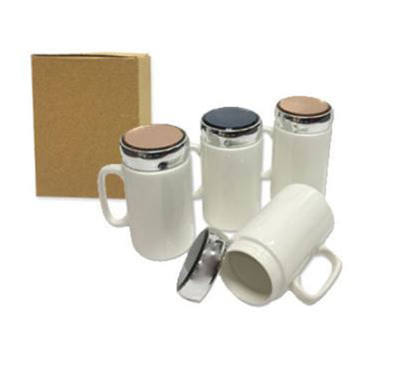 Picture of 400ml Porcelain Mug with sliver acrylic lid