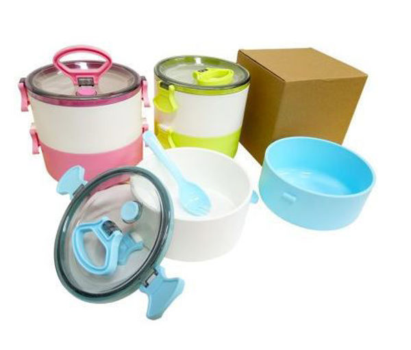 Picture of 2-Tier Lunch Box with 2-in-1 fork & spoon (1.2L)