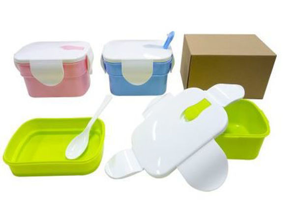 Picture of 2-Tier Rectangular Lunch Box with spoon  (0.8L)