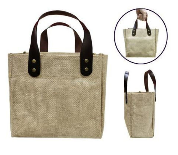 Picture of Jute Tote Bag with pu leather handles