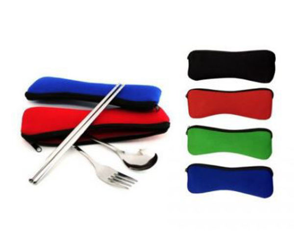 Picture of Stainless Steel Cutlery Set with Zipper Neoprene Pouch
