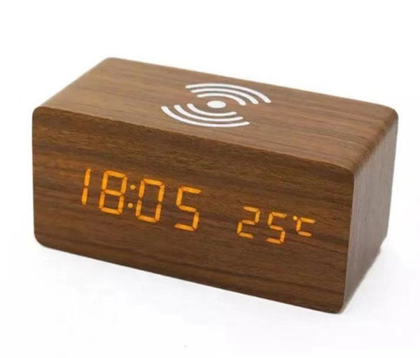 Picture of Wooden Wireless Charger station and Alarm clock